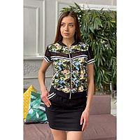 Костюм женский (футболка, юбка), цвет листья, размер 48