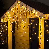 Гирлянда 'Бахрома' уличная, УМС, 3 х 0.9 м, 2W Каучук LED(IP65)-232-220V, нить тёмная, свечение тёплое белое