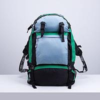Рюкзак туристический, 65 л, отдел на молнии, 3 наружных кармана, цвет чёрный/зелёный/серый