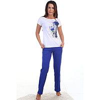 Комплект женский (футболка, брюки) Очарование цвет василек, р-р 46
