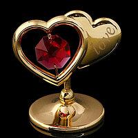 Сувенир 'Два сердца', 4,5x4,5x3 см, с кристаллами Сваровски