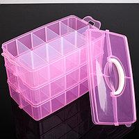 Бокс для хранения, 3 яруса, 30 отделений, 32x18x24 см, цвет МИКС