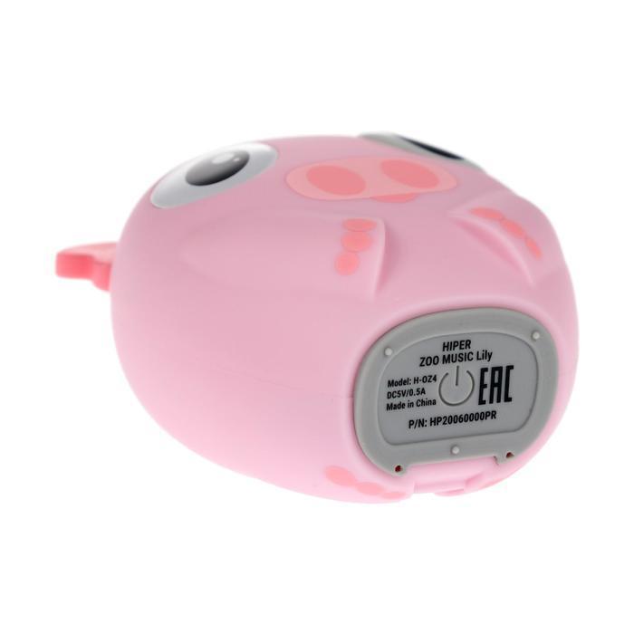 Портативная колонка Hiper ZOO Music Lily, BT, 3 Вт, Micro-USB, 400 мАч, розовая - фото 5