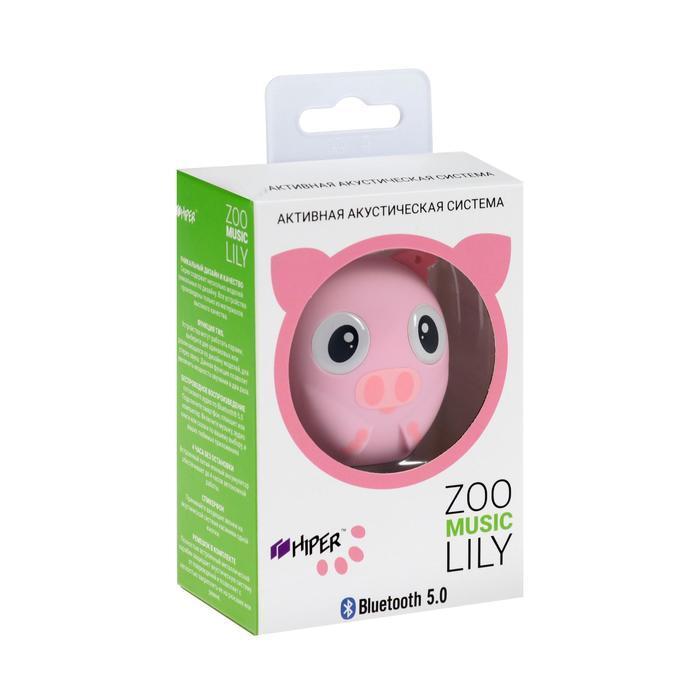 Портативная колонка Hiper ZOO Music Lily, BT, 3 Вт, Micro-USB, 400 мАч, розовая - фото 7