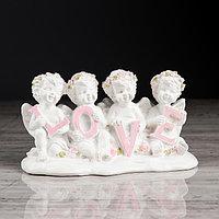 Статуэтка 'Ангелы LOVE' с розовой отделкой, 9 см