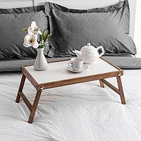Столик для завтрака 'Ренессанс', 50 х 30 см, массив ясеня, цвет темный орех