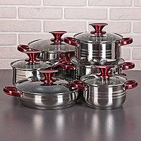Набор посуды 'Виктори 2', 6 предметов кастрюли 1,9/2,7/3,6/6,1 л, ковш 1,9 л, сотейник с антипригарным