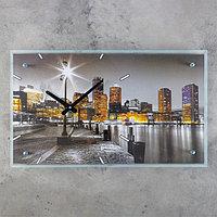 Часы настенные прямоугольные 'Ночной город', стекло, 35х60 см