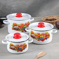 Набор посуды 'Варенье', 3 шт 1,5 л, 2,9 л,4,5 л, цвет белоснежный