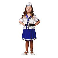 Карнавальный костюм 'Морячка', (матроска, юбка, пилотка, ремень), размер 34, рост 128 см