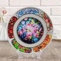 Тарелка декоративная 'Русские мотивы. Жостовская роспись', настенная, d20 см, ручная работа