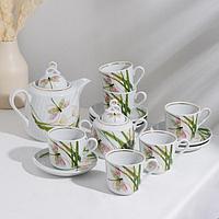 Сервиз чайный 'Стрекоза', 14 предметов чайник 1 л, сахарница 400 мл, 6 чашек 220 мл, 6 блюдец d14 см