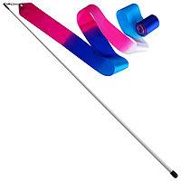 Лента гимнастическая с палочкой 56 см, 6 м, цвет белый/синий/розовый