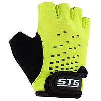 Перчатки велосипедные детские STG AL-03-511, размер S, цвет зелёный/чёрный