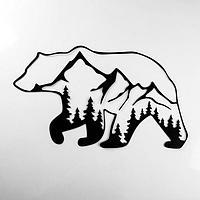 Панно металлическое 'Медведь и горы' 60х35 см