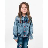 Куртка джинсовая для девочки, цвет синий, рост 104 см