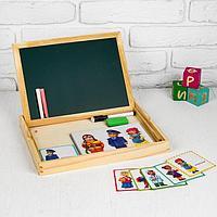 Конструктор магнитный 'Профессии' в деревянной коробке + набор игровых карточек, мел, маркер, губка