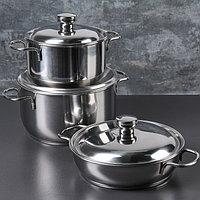 Набор посуды, 3 предмета две кастрюли 3 л, 1,75 л, сковорода 1 л, капсульное дно