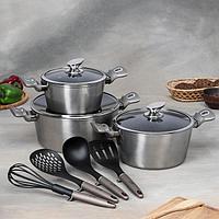 Набор посуды Berlinger Hause Carbon Metallic Line, 10 предметов 3 кастрюли, 3 стеклянные крышки, 4 кухонных