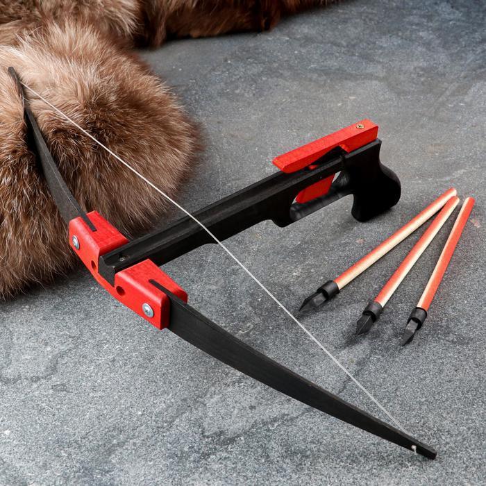 Сувенирное деревянное оружие 'Пистолет-Арбалет', 50х30 см, массив бука - фото 5