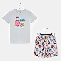Костюм женский 'Пончики' (футболка, шорты), цвет серый, размер 42