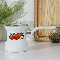 Кофеварка Лысьвенские эмали 'Сочная клубника', 400 мл, цвет белый