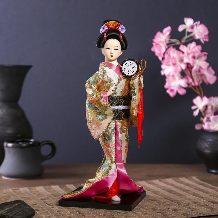 Кукла коллекционная 'Гейша в шелковом кимоно с барабаном' - фото 1