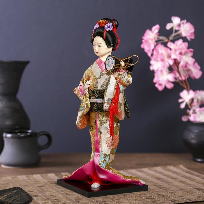 Кукла коллекционная 'Гейша в шелковом кимоно с барабаном' - фото 2