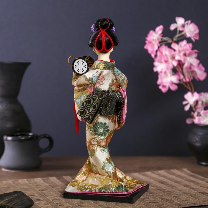 Кукла коллекционная 'Гейша в шелковом кимоно с барабаном' - фото 4