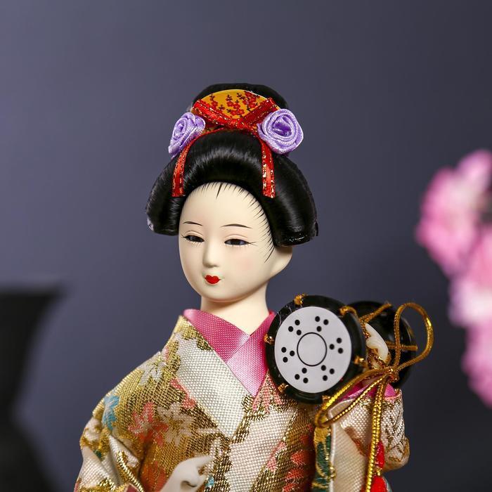 Кукла коллекционная 'Гейша в шелковом кимоно с барабаном' - фото 5