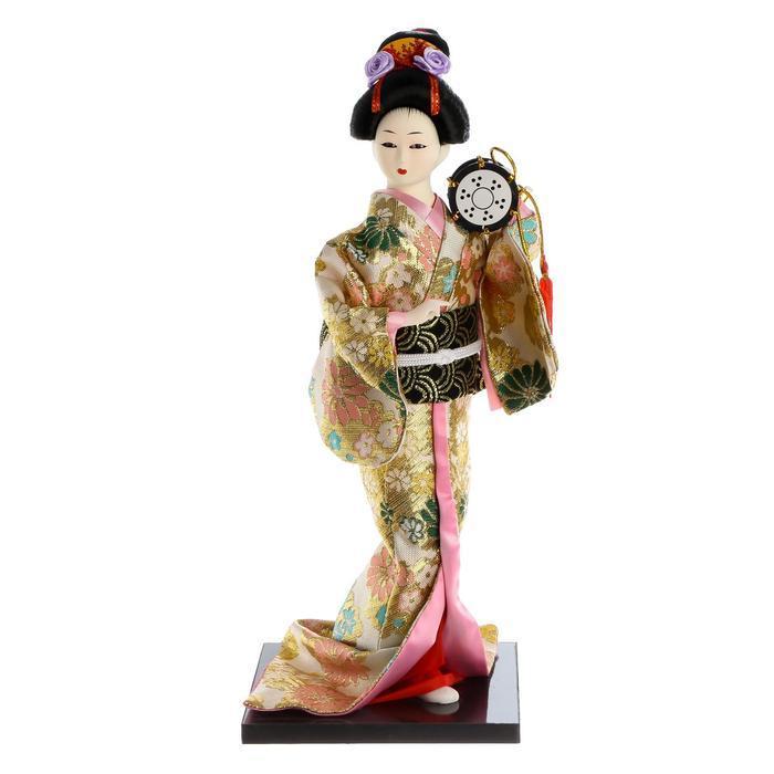 Кукла коллекционная 'Гейша в шелковом кимоно с барабаном' - фото 6