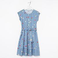 Платье для девочки, цвет синий/белый, рост 140 см