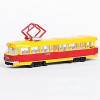 Машина металлическая 'Трамвай', световые и звуковые эффекты, открываются двери, инерционная, 18 см