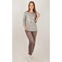 Комплект женский (лонгслив, брюки), цвет коричневый, размер 48