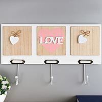 Крючки декоративные дерево 'Сердце с надписью love' 23х40х4,5 см