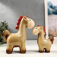 Сувенир керамика 'Коняшки' набор 2 шт 15,5х12,5х5,3 21х18х9 см