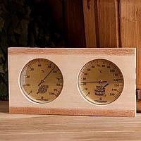 Термогигрометр для бани и сауны деревянный, два циферблата, 13.5x25.5 см