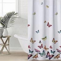 Штора для ванной комнаты Доляна 'Бабочки', 180x180 см, полиэстер