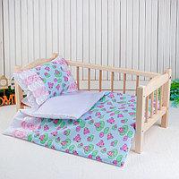Постельное бельё для кукол 'Царевна лягушка на голубом', простынь, одеяло, подушка
