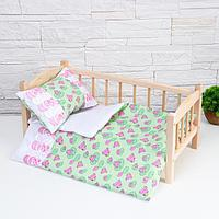 Постельное бельё для кукол 'Царевна лягушка на зелёном', простынь, одеяло, подушка