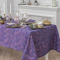 Набор столовый Этель 'Огурцы', скатерть 135 x 180 см, салфетки 40 x 40 см, 6 шт., цвет фиалковый, 100-ный