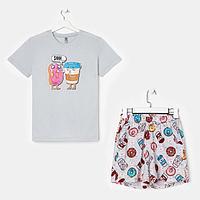 Костюм женский 'Пончики' (футболка, шорты), цвет серый, размер 54