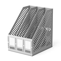 Лоток вертикальный 3-х секционный, сборный Erich Krause, серый