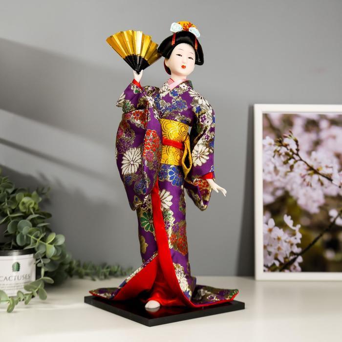 Кукла коллекционная 'Гейша в фиолетовом кимоно с веером' 42х16,5х16,5 см - фото 1