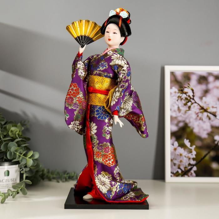 Кукла коллекционная 'Гейша в фиолетовом кимоно с веером' 42х16,5х16,5 см - фото 2