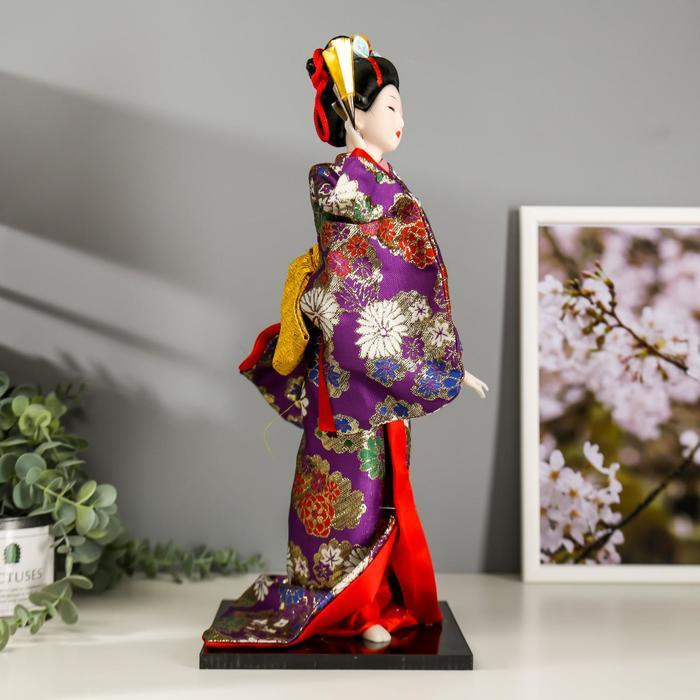 Кукла коллекционная 'Гейша в фиолетовом кимоно с веером' 42х16,5х16,5 см - фото 3