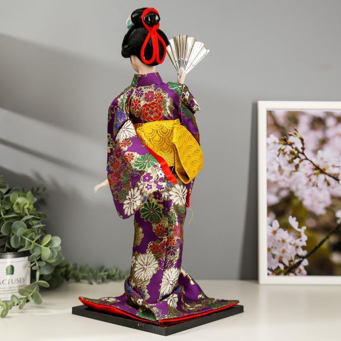 Кукла коллекционная 'Гейша в фиолетовом кимоно с веером' 42х16,5х16,5 см - фото 4