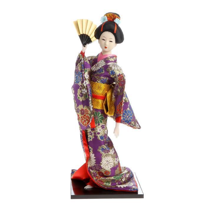 Кукла коллекционная 'Гейша в фиолетовом кимоно с веером' 42х16,5х16,5 см - фото 5