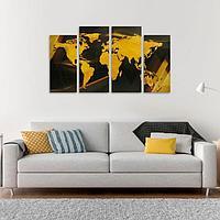 Модульная картина 'Карта', золотая, 33 х 73 см