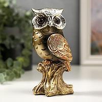 Сувенир полистоун 'Мудрая сова Мадлен' бронза с золотом 14,5х6х5,5 см